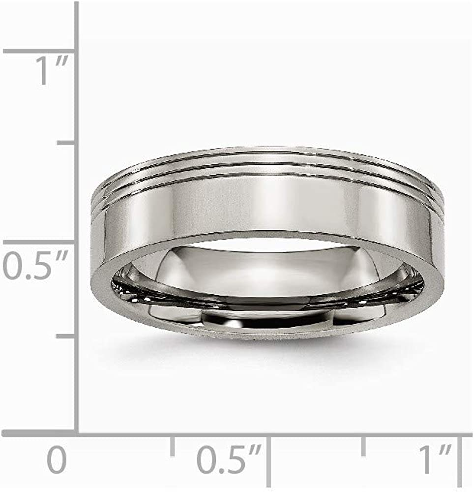 Ring Size Options JewelryWeb Titanium Engravable Grooved 6mm Polished Band Ring 10 10.5 11.5 12 12.5 13 6 6.5 7 7.5 8 8.5 9 9.5