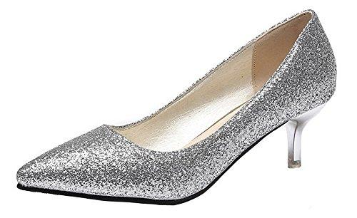 Femme Chaussures Pointu Légeres Unie AgeeMi Argent Shoes Couleur à Tissu Paillette FxwBHR7