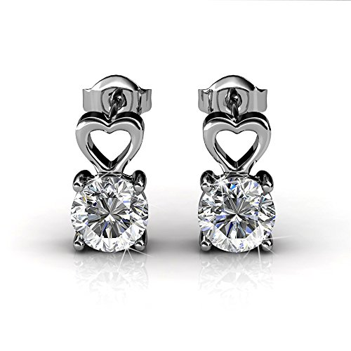 Dangling White Gold Stud - Cate & Chloe Marian Passion 18k White Gold Heart Earrings w/Swarovski Crystals,Sparkling Silver Dangling Stud Earring, Solitaire Round Cut Diamond Crystals, Wedding Anniversary Jewelry MSRP - $119