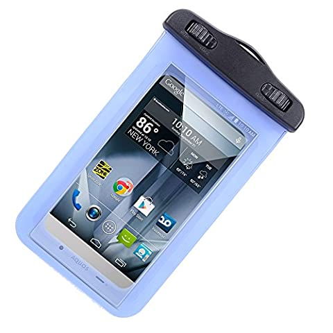 Universal Protective Waterproof Bag / Pouch / Cover / Case for Sony Xperia Z4/ Z4 Compact/ C4/ Z3 / Z3 v / Compact / Z2 / Z1 LTE / ZTE Grand S with Responsive Screen Protector Windows and Strap Fit up to 5.5 Inch Ios Windows Android Smart Phone + SumacLife Wisdom Courage Wristband (Sony Xperia V Screen)