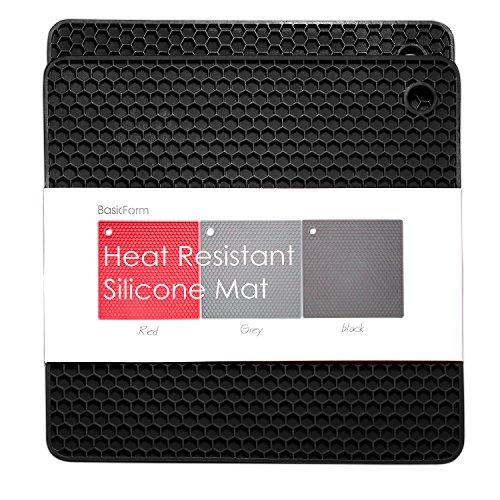 BasicForm Silicone Trivet Square Honeycomb Pattern 7.5x7.5x0.31 Inches (Set of 2) (Black)