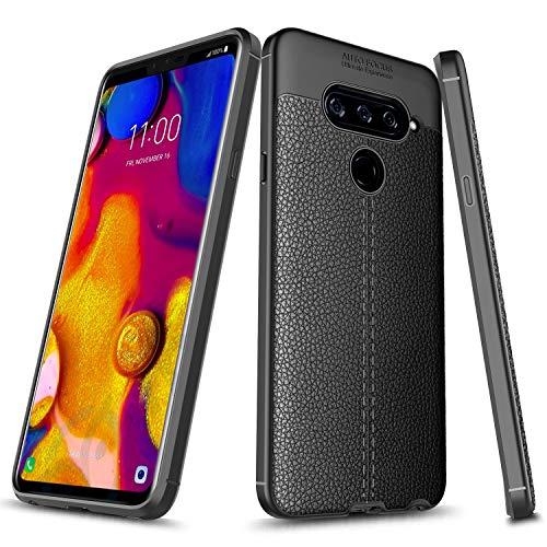 LG V40 / LG V40 ThinQ Case, E-Began [TPU Leather] Design Shock Resistant [Ultra Slim] Thin Anti-Scratch Non-Slip Soft Protective Cover Case for LG V40 / LG V40 ThinQ -Black