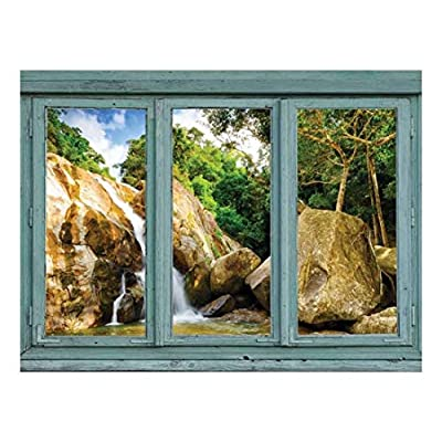 With a Professional Touch, Lovely Craft, Vintage Teal Window Looking Out Into a Rocky Waterfall Wall Mural