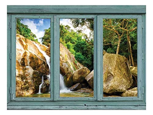 Vintage Teal Window Looking Out Into a Rocky Waterfall Wall Mural