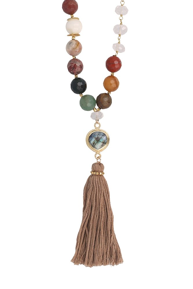 Chan LUU Multi Tassel Long Necklace with Semi-Precious Stones by Chan Luu Authorized Reseller (Image #2)