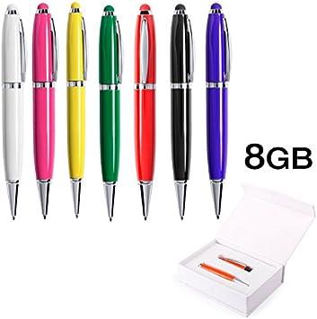 Lote 10 Memorias Bolígrafo Puntero Pendrive USB 8GB con Caja de Regalo de Presentación, Multicolor: Amazon.es: Electrónica