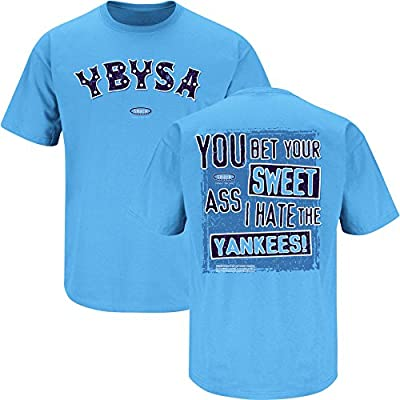 Smack Apparel Tampa Bay Baseball Fans. YBYSA I Hate The Yankees. Carolina Blue T-Shirt (Sm-3X)