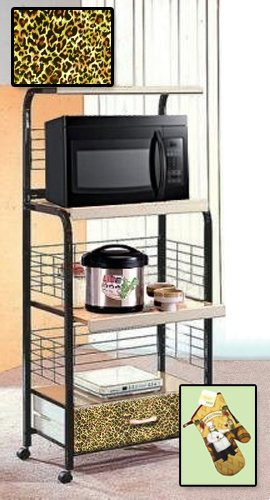 New Black Finish Rolling Microwave Cart with a Cheetah Animal Print Theme Includes Free Oven Mitt! by The Furniture Cove