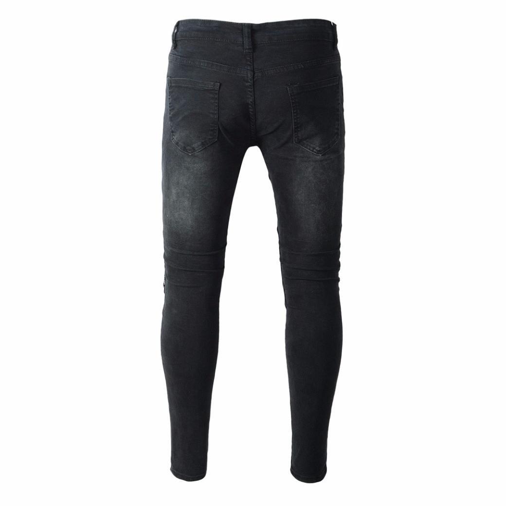 9dbb3a75 ❤️Pants Men, 2018 Sportswear Elastic Fitness Ripped Slim Fit Motorcycle  Vintage Denim Jeans Hiphop Streetwear Pants at Amazon Men's Clothing store: