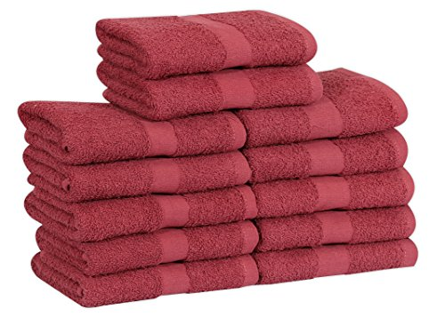 GOLD TEXTILES Cotton Salon Towels (12-Pack,Burgundy,16x27 inches) - Soft Absorbent Quick Dry Gym-Salon-Spa Hand Towel (100% (Burgundy)