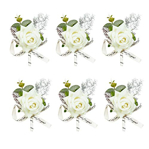 U'Artlines White Rose Boutonnieres Groom Groomsman Flower for Wedding Party Prom Man Suit Decoration 6pcs Set Wedding Accessories for Groom Groomsman Girl Brides Prom(Boutonniere White 6pcs)