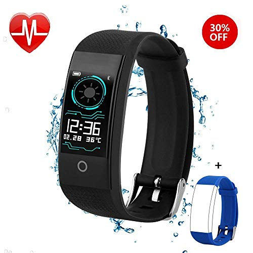 QWMoonRu Fitness Tracker for Men Women Kids, Waterproof Color Screen Activity Tracker with Heart Rate Blood Pressure Blood Oxygen Sleep Monitor, Pedometer Watch with Step Calories Counter (Black)