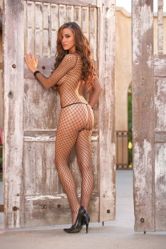 ELEGANT MOMENT 1655 Fence net long sleeve bodystocking with open crotch.