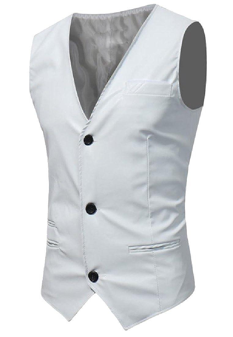 Fseason-Men Smart Custom Fit Button Down Washed Leather Suit Vest