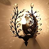 JIN Wall Lamp Fresh And Refined Iron Art E14 Round Button Light Hotel Room , Black