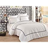6 Pieces King Size Floral Embroidery Decorated Premium Satin Comfort and Breathable Full Bedding Set Including: Duvet Cover, Bed Sheet, Decorative Pillow case and Pillow Shams