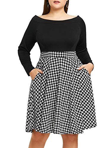 Women's Off The Shoulder Fit and Flare Plus Size Swing Dress with Pockets (Houndstooth/Black White, -