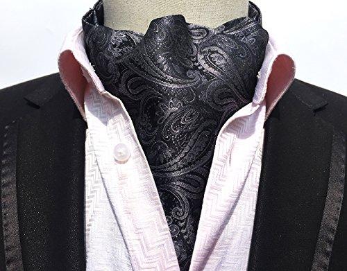 MENDENG Mens Grey Red Paisley Jacquard Woven 100% Silk Cravat Tie Formal Ascot