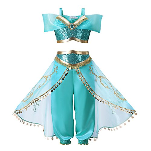 Pettigirl Girls Teal & Gold Princess Dress Up Costume 2Piece Pants Outfit, 140cm ()
