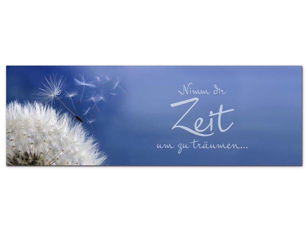 GRAZDesign 100016_003_01_04 Wandbild mit Spruch Nimm dir Zeit um zu träumen | Blumige Wand-Deko für Wohnzimmer | Glasbild aus Acrylglas (150x50cm)