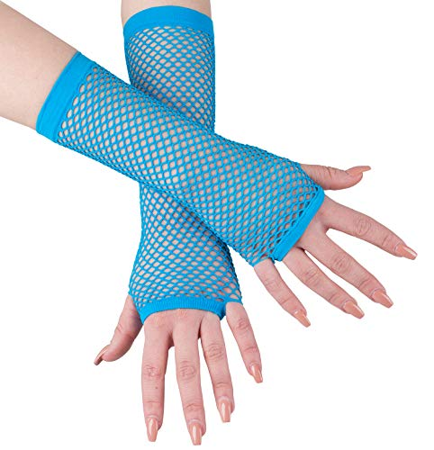 Fishnet Gloves - Long Fishnet Gloves - 80s Accessories - Mesh Fingerless Gloves by Funny Party Hats ()