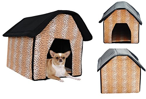 1 Set Topnotch Popular Indoor Pet House Portable Bed Collapsible Couch Dog Tent Style Leopard Print