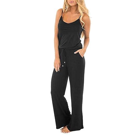 de5e70180edc3 Amazon.com: PASHY Womens Tall Pants, Women Casual Loose Sleeveless Open  Back Wide Leg Pants Romper Jumpsuits: Clothing