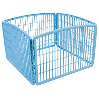 IRIS USA 24'' Exercise 4-Panel Pet Playpen without Door, Blue CI-604