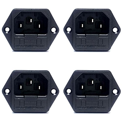 CESS Screw Mount AC Power Inlet with Fuse Holder,Socket Type, Black (jcx) (4 PACK)