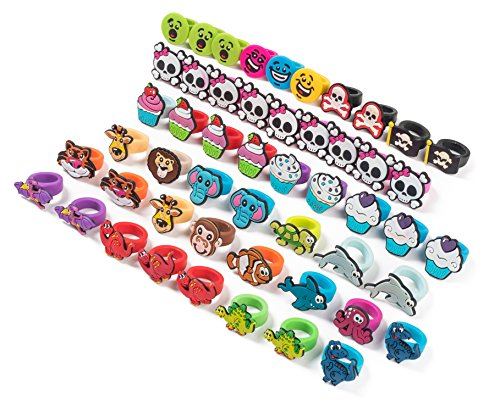 Neliblu Bulk Pack of 72 Kids Assorted Rubber Rings By Carnival Prizes for Kids - Party Favors - Miniature Toys - Girls Pinata Toys - Christmas Stocking Stuffer - Grab Bags