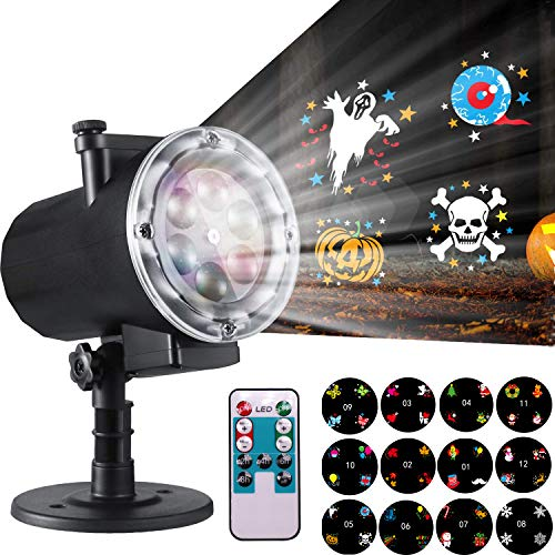 Yakalla Halloween Christmas Projector Lights - 12 Switchable Themes Dynamic Spotlight Animated Lifelike Pattern Indoor Outdoor Decorative LED Projection Lights (Black) -