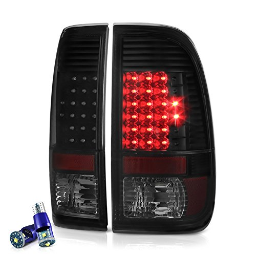 [Cree LED Reverse Bulbs] - VIPMOTOZ For 2008-2016 Ford F-250 F-350 F-450 Superduty LED Tail Lights - Matte Black Housing, Smoke Lens, Driver and Passenger Side