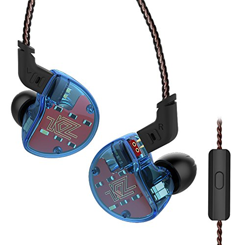 Five Driver Headphones,KZ ZS10 High Fidelity Noise-Isolating Earbuds/Earphones with Microphone (Blue) by KZ