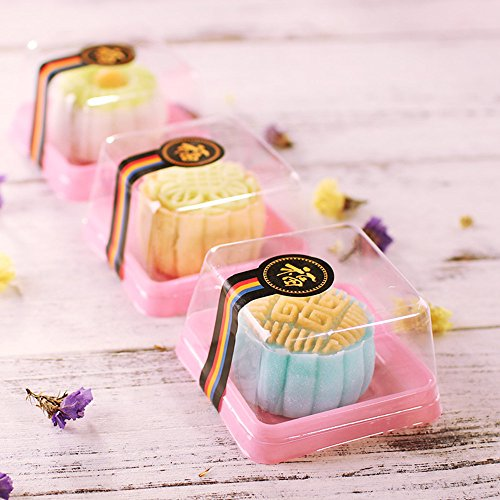 Single Clear Plastic Moon Cake Box For 100G Cake,Pink Color, 3 Inch Bottom, 50 Sets