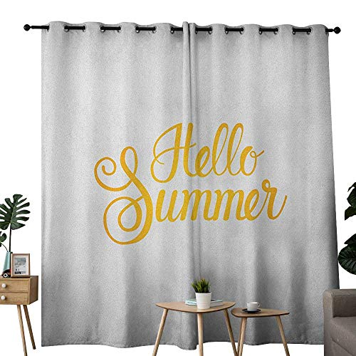 NUOMANAN Decor Curtains by Hello Summer,Hello Summer Phrase Print in Zesty Yellow Hand Lettering Calligraphic Design, Earth Yellow,Wide Blackout Curtains, Keep Warm Draperies, Set of 2 52