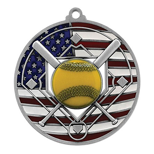 Silver Patriotic Softball Medal - 2.75