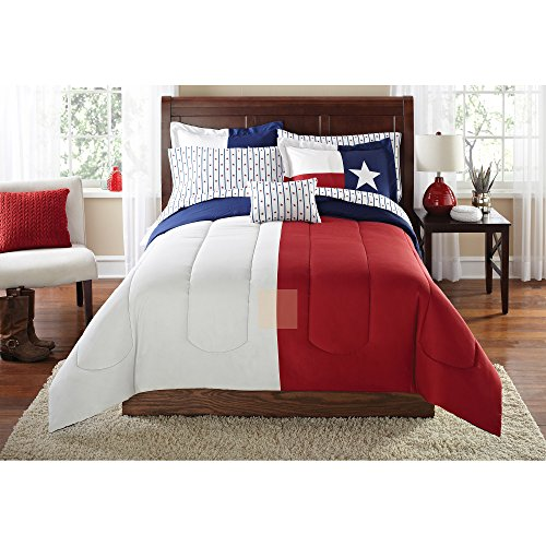 6 Piece Boys Flag Of Texas Themed Comforter Twin/Twin XL Set, USA State Flag Print, Colors Stands For Loyalty Purity Bravery, Sports Design, Star Stripes Reversible Bedding, Blue Red White, ()