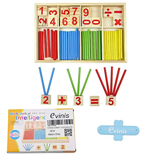 EVINIS Baby Toy Wooden Blocks Montessori Educational Toys Mathematical Intelligence Stick Building Blocks gift-Wooden Number Cards and Counting Rods with Box