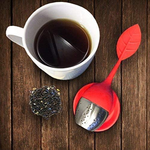 rojo juego de 2 infusores HelpCuisine infusor de te//infusionador//colador te//filtro te//infusores de te Infusor en forma de hoja de T/é hecho de silicona 100/% alimentaria libre de BPA