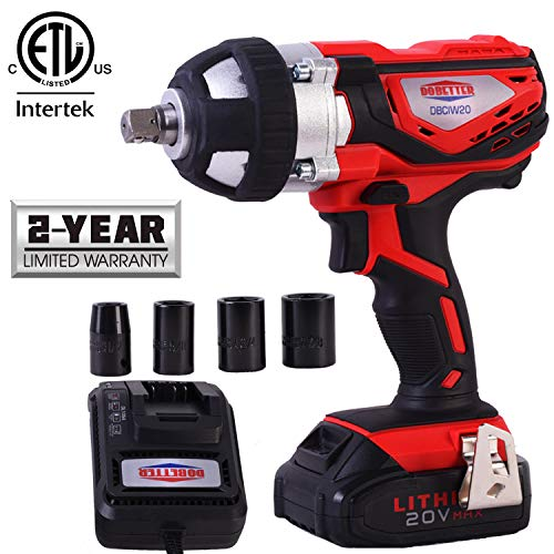 Dobetter Cordless Impact Wrench 1/2 Inch Compact Driver Battery Impact Wrench 1/2 Inch High Torque Portable Impact Gun 20V Electric Impact Tool -DBCIW20