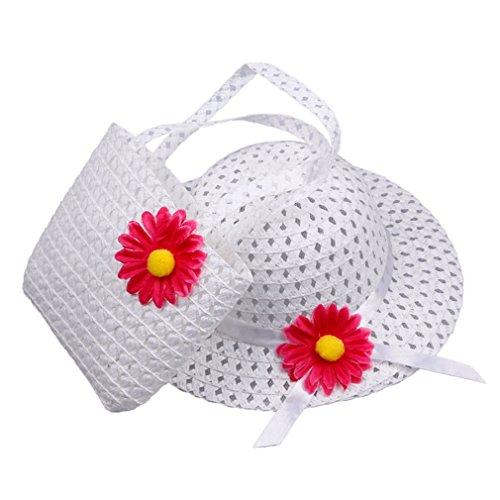 Elee Cute Baby Girl Kids Straw Flower Sun Cap Child Summer Sunhat and Handbag Set (#4 White)