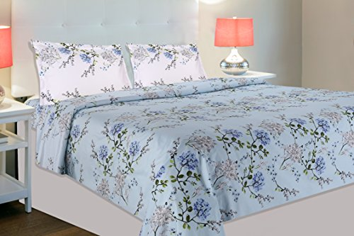 haus & kinder Victorian Summer Dream 100% Cotton Double Bedsheet with 2 Pillow Covers, 186 TC (Dove...