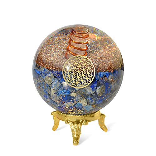 Orgonite Crystal Lapis Lazuli Ball with Holder Third Eye Chakra Crystal with Flower of Life Enhances Decision Making and Promotes Friendship, Honesty, Compassion and Integrity
