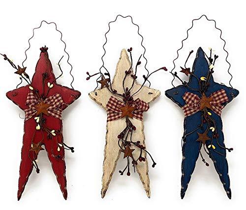 OBI Primitive Wooden Stars Set of 3 - Rustic Patriotic Americana Wall Door Home Decor Wood Metal Burlap Fabric Berry