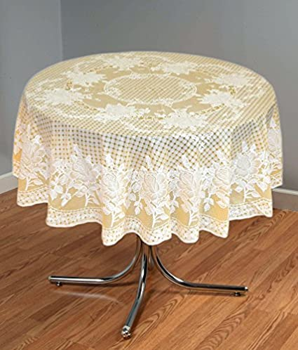 Katwa Clasic - 54 Round Rose Lace Vinyl Dining Tablecloth (Gold)