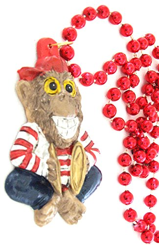 Monkey Cymbals Mardi Gras Bead Necklace Party New Orleans Party Costume -