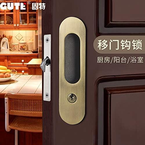 ZTZT Puerta corredera cerradura baño puerta de madera cerradura gancho oculta invisible manija de la puerta cocina balcón simple puerta corredera cerradura con llave, verde bronce: Amazon.es: Bricolaje y herramientas