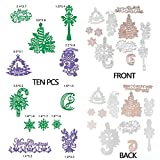 Merry Christmas Cutting Dies Stencil Metal Template for DIY Paper Card 10 Pcs