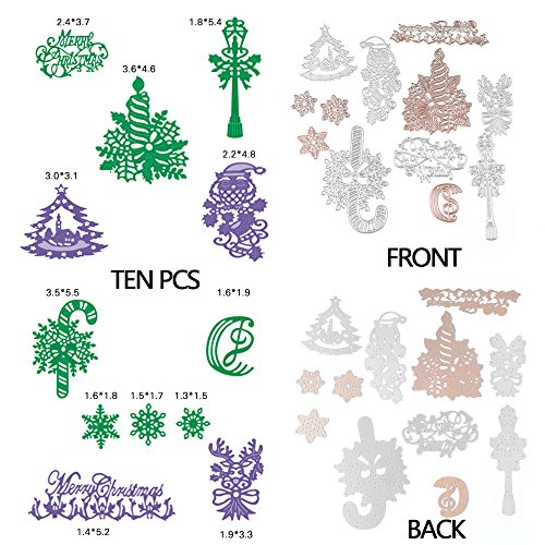 [Merry Christmas Cutting Dies Stencil Metal Template for DIY Paper Card 10 Pcs] (Grape Vine Halloween Costume)