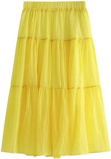 Falda Mujer Damas Femme Mujer Falda Larga de Verano Faldas de Lino de algodón Plisado Marca Mujeres Tallas Grandes Faldas Maxi de Autunm: Amazon.es: Ropa y accesorios